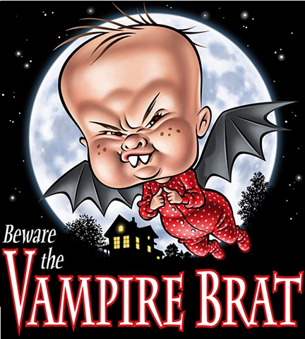 Vampire Brat illustration by Phill Flanders for online tee shirt sales