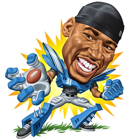 Caricature, Calvin Johnson,Phill Flanders illustration