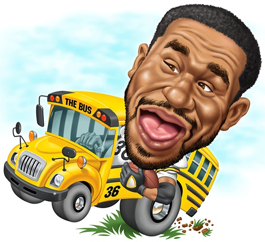 Digital Caricature of Jerome Bettis