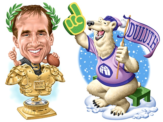 Caricature,  Drew Brees, Phill Flanders illustration
