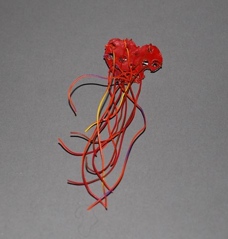Red Drain Heart pin