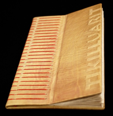 letterpress printed, leather bound edition with wooden sound sculpture