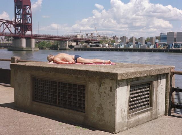 Sun Bathing, East Side, Roosevelt Island, July 2013