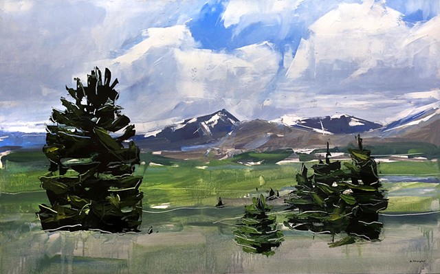 "'Mt. Evens and Bierstadt. Colorado'  24""x38"" Oil on wood."