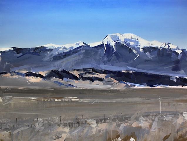 """'Sangre De Cristo Mountains. Colorado' 36""""x48"""" Oil on wood"""