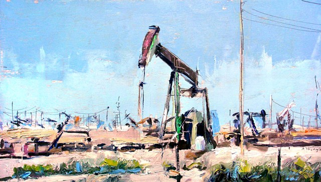 """Oil pump. 10""""x18"""" Oil on wood"""