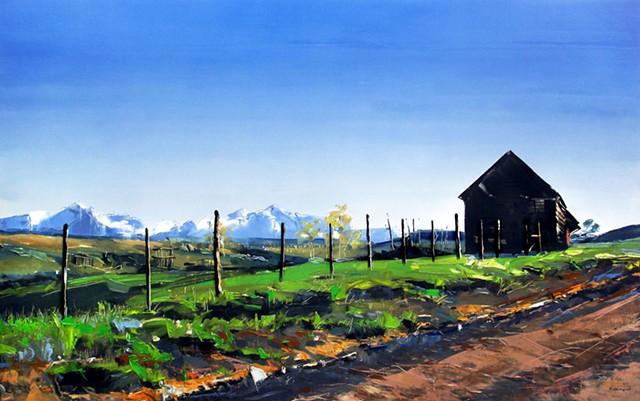 "'Old Barn. Telluride CO'  30""x48"" Oil on wood"
