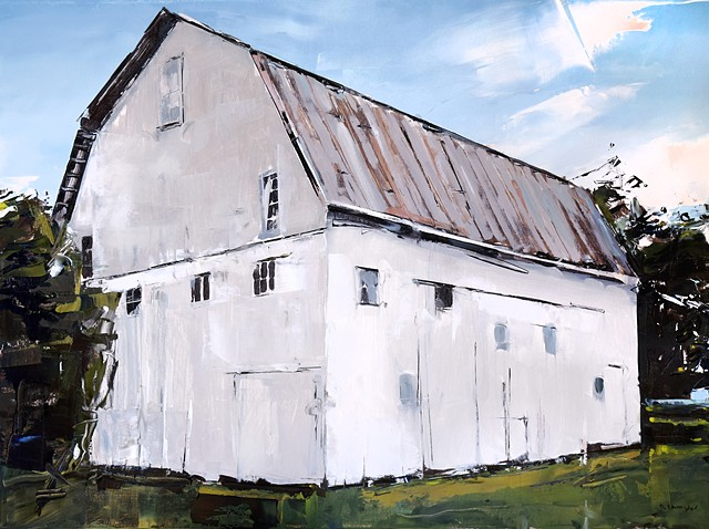 """'Old Barn. Ohio' 24""""x32"""" Oil on wood"""