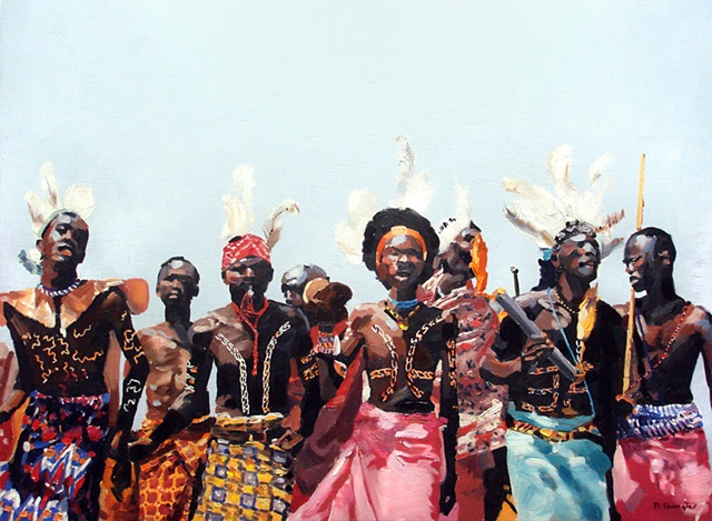 "'Samburu Warriors' Africa. 21""x29"" Oil on wood"