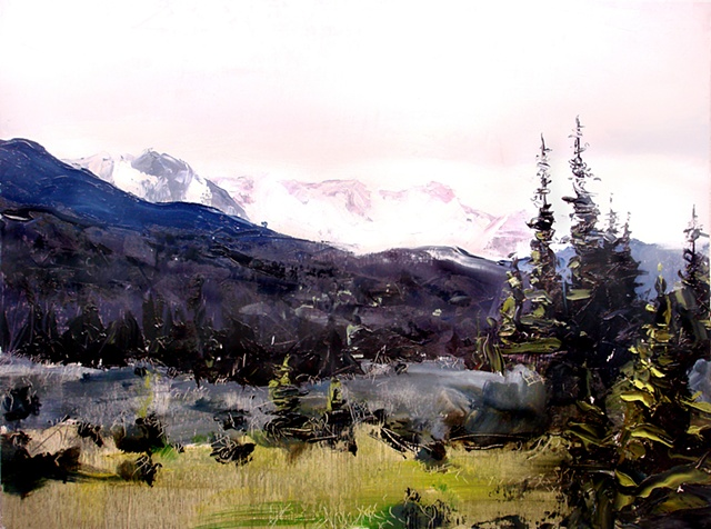 "Colorado. Estes Park   16""x20"" Oil on wood NFS (Nine Dot Arts)"