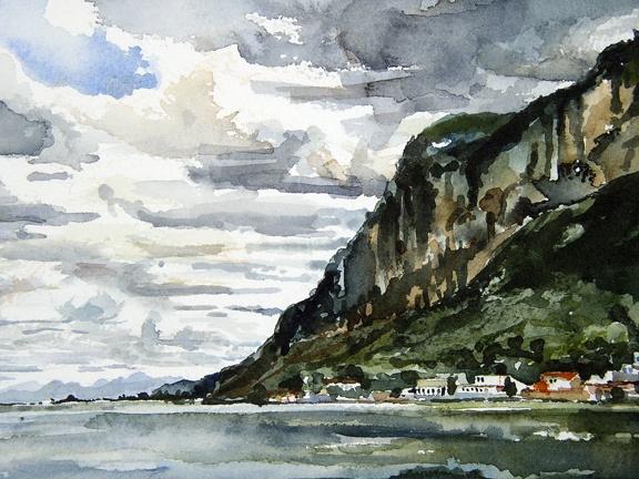 """China. Lake  7""""x9"""" Watercolor"""