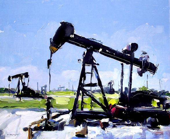 """'2 Oil Pumps' 12""""x20"""" Oil on wood"""