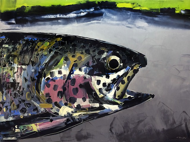 "Rainbow Trout'  30""x40"" Oil on wood"