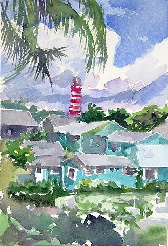 "Bahamas. Hopetown. Lighthouse  7""x5"" Watercolor"