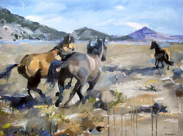 "Exempla Cardiovascular Healthcare Clinic  'Colorado horses' 18""x24"" Oil on wood"