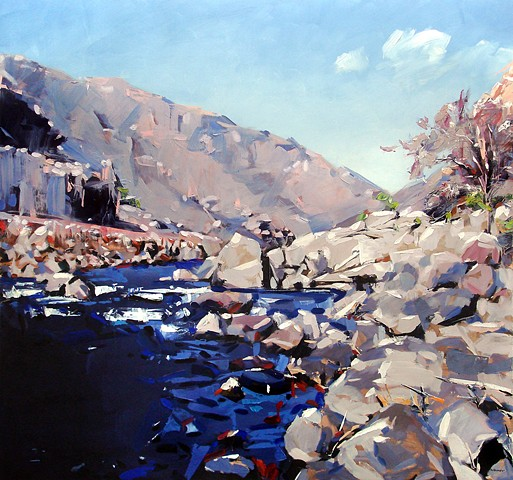 "'Arkansas River. Colorado'  45""x48"" Oil on wood."