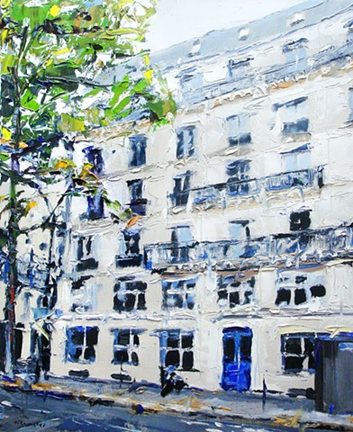 "Building in Paris 17""x21"" Oil on wood."
