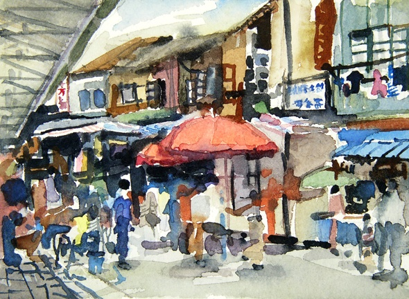 """China. Bird and Flower Market  5""""x7"""" Watercolor"""