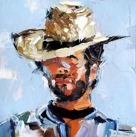 "Clint. 8""x8"" Oil in wood"