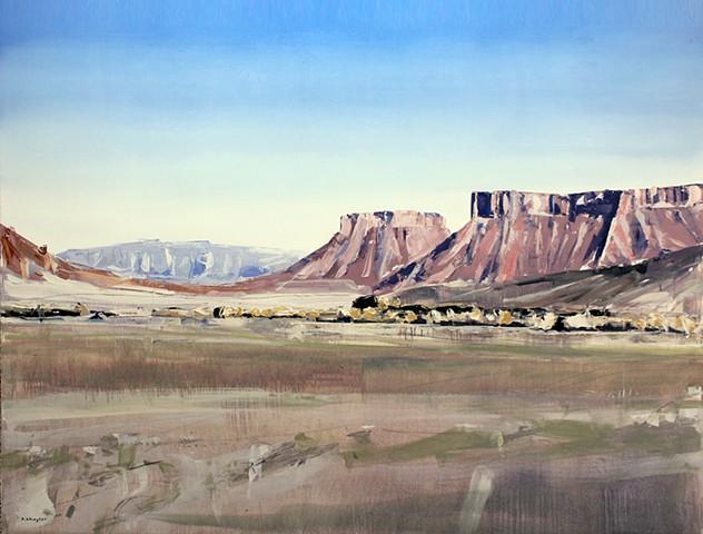 """'Moab, Utah' 36""""x48"""" Oil on wood"""