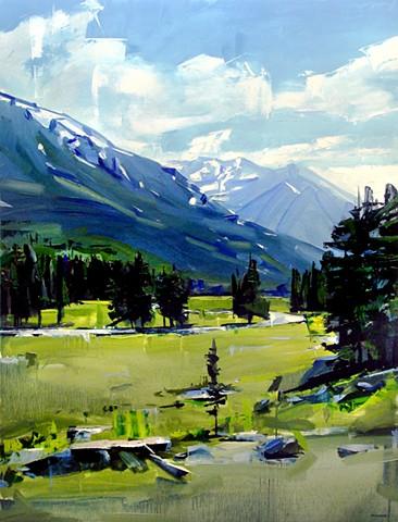 """'Buena Vista Mountains. CO'  36""""x48"""" Oil on wood."""