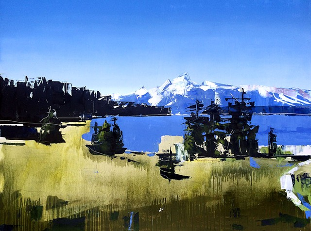 "'Grand Tetons National Park, WY' 36""x48"" Oil on wood"