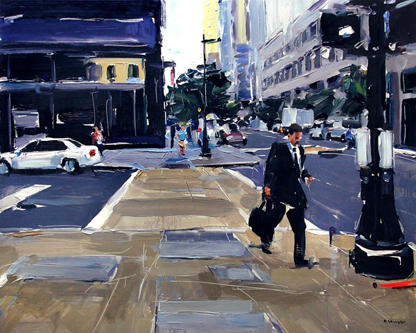 """'Business Man. Raleigh City'  24""""x30"""" Oil on wood"""