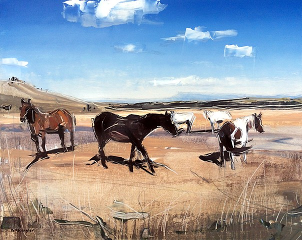 """Grazing Horses. Red Lodge, MT.  16""""x20"""" Oil on wood"""