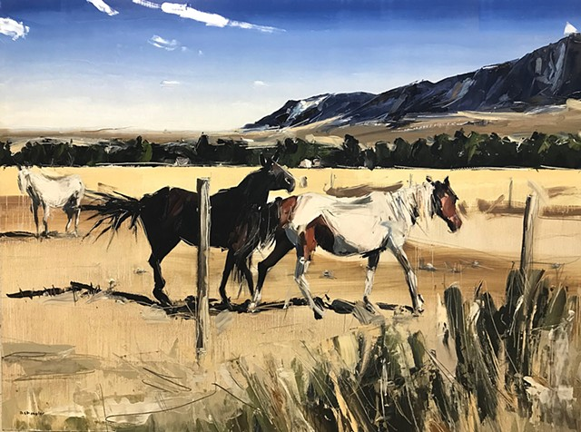 """'Dancing Horses. Red Lodge Montana' Oil on wood. 30""""x40"""" Oil on wood"""