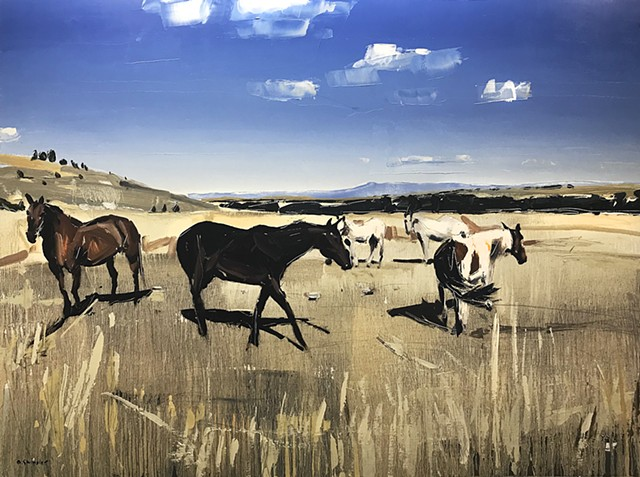 """'Grazing Horses 1. Red Lodge, MT' 36""""x48"""" Oil on wood"""