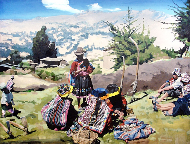 """Peru. Potato Farm 30""""x40"""" Oil"""
