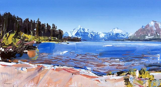 "'Jackson Lake #2. Grand Tetons National Park' 20""x36"" Oil on wood"
