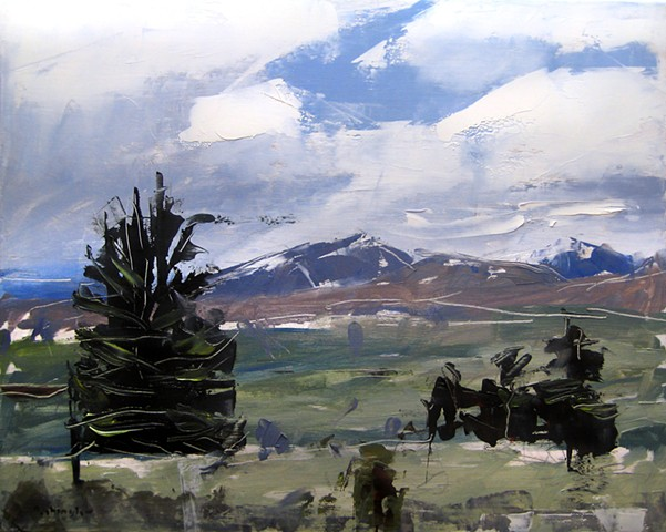 "'Mt. Evens and Bierstadt. Colorado'  16""x20"" Oil on wood. 2015"