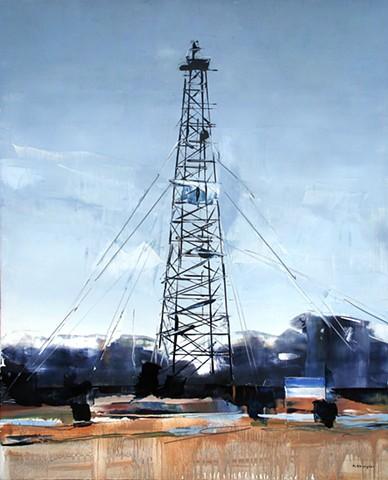 """'Oklahoma Oil Tower'  24""""x30"""" Oil on wood"""