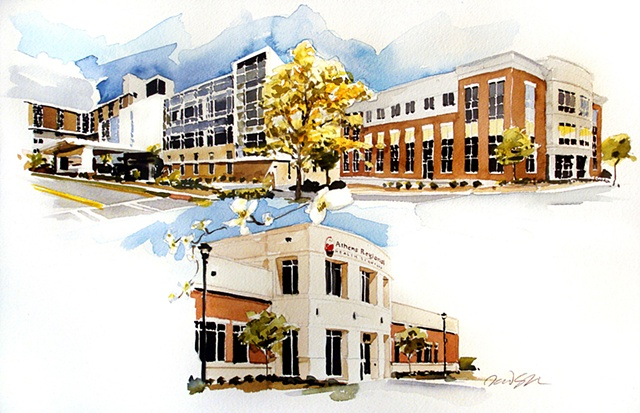 """Commission gift to VP and CEO Regional Services Hospital buildings, Athens Georgia. 15""""x23"""" Watercolor"""