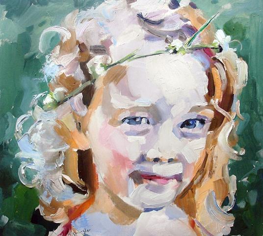 "Portrait: 'Ada'  17""x19"" Oil on wood"