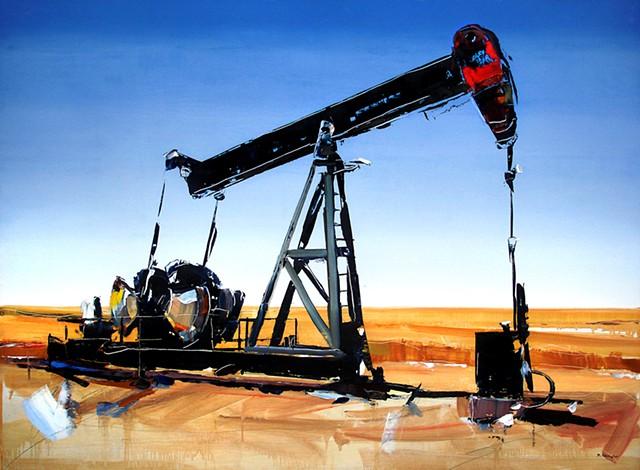 """'Kansas Oil Pump'  35""""x48"""" Oil on wood"""