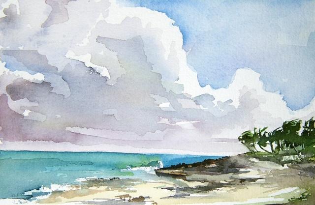"""Bahamas. North beach  7""""x9"""" Watercolor"""
