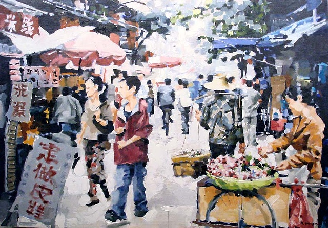 "Kunming, China. Bird and flower market ""20""x30"" Oil"