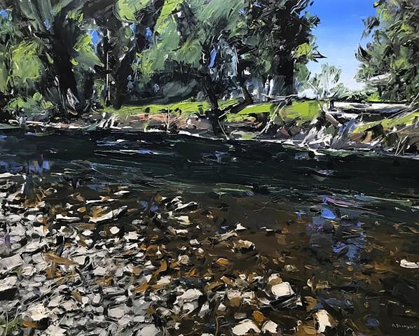 "'Rock Creek. Montana' 24""x30"" Oil on wood"
