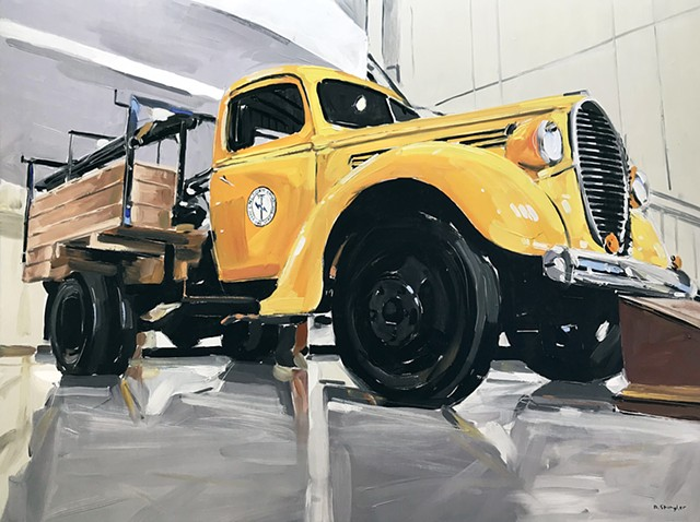 """'Pike Electric. Yellow Truck'  30""""x40"""" Oil on wood"""