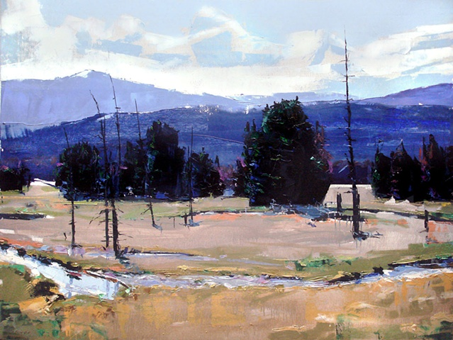 "'Rocky Mountain National Park' Colorado. 30""x40"" Oil on wood"
