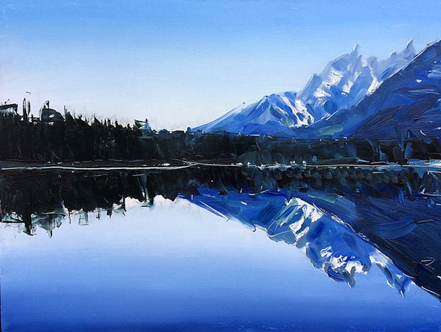 "'Grand Tetons. Reflection' 18""x24"" Oil on wood"