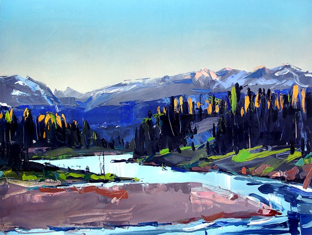 "'Snake River Glow, Wyoming'  36""x48"" Oil on wood 2014"