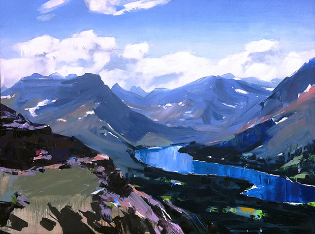 "'Glacier National Park. MT'  36""x48"" Oil on wood"