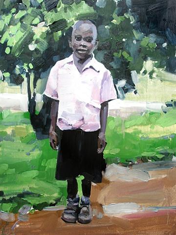 Uganda. Sponsor Child Portrait 12x16 Oil