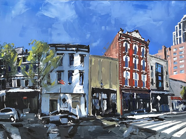 """'Historic Briggs Hardware. Raleigh NC'  36""""x48"""" Oil on wood"""