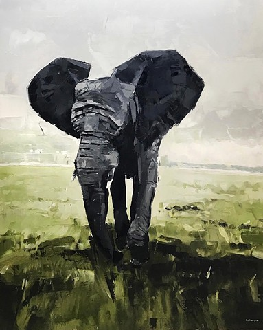 "'Elephant. South Africa'  48""x36"" Oil on wood"