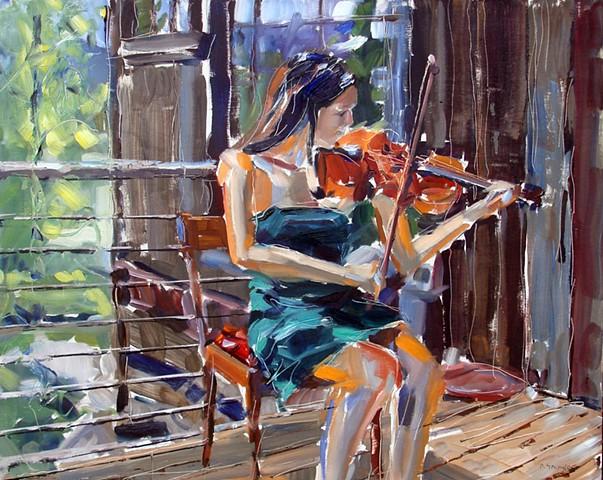 "'Graceful Violin'  24""x30"" Oil on wood"
