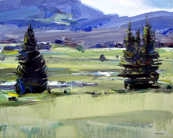 """'2 Trees. Rocky Mountain National Park. CO' 16""""x20"""" Oil on wood."""